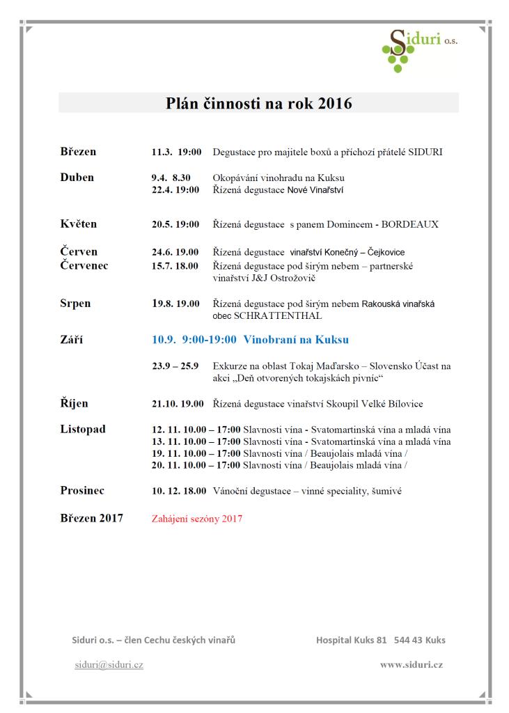 Plán činností 2016